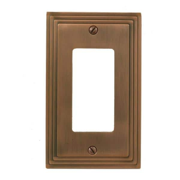 Hampton Bay Tiered 1 Gang Rocker Metal Wall Plate Antique Copper 84rac The Home Depot