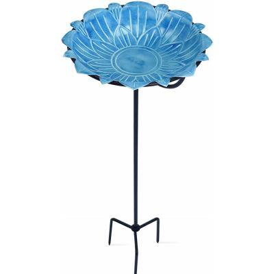 Monarch Blue Lotus Standing Bird Bath/Bird Feeder with Metal Stake Garden Decor