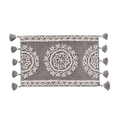 24 in. x 40 in. Gray Cotton Medallia Bath Rug