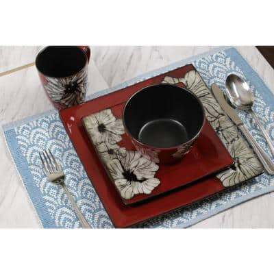Winter Bloom 16-Piece Asian Inspired Red Earthenware Dinnerware Set (Service for 4)