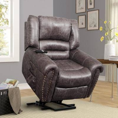 39 in. Width Big and Tall Brown Faux Leather Power Reclining Recliner