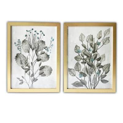 Silver Leaves Framed Botanical Nature Art Print 20 in. x 16 in. Each (Set of 2)