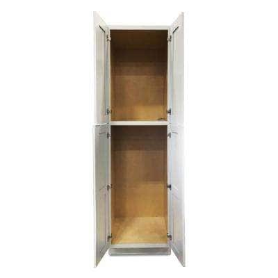 White Plywood Shaker Stock Ready to Assemble Wall Pantry Kitchen Cabinet 30 in. W x 96 in. D H x 24 in. D