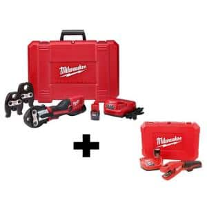 M12 12-Volt Lithium-Ion Force Logic Cordless Press Tool Kit (3 Jaws Included) with Free M12 Copper Tubing Cutter Kit