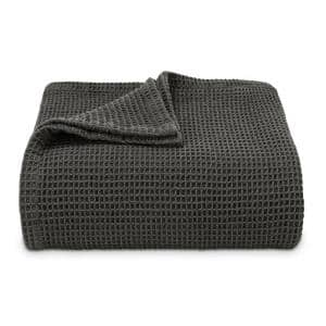 Waffleweave Cotton Charcoal 1-Piece King Blanket