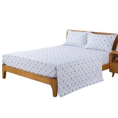 Rooster 4-Piece Blue Microfiber Washed Queen Sheet Set