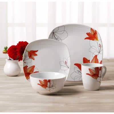Lily 16-Piece Casual White with Pattern Ceramic Dinnerware Set (Service for 4)
