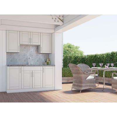 Sanibel Shoreline Gray 22-Piece 67.25 in. x 84 in. x 25 in. Outdoor Kitchen Cabinet Set
