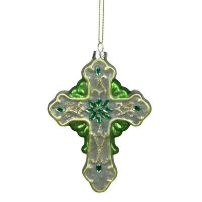5 in. Green and White Christmas Luck of the Irish Mercury Finish Cross Glass Ornament