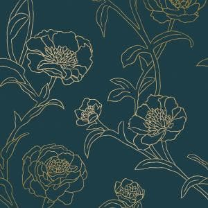 Peonies Peacock Blue & Metallic Gold Peel and Stick Wallpaper (Covers 56 Sq. Ft.)