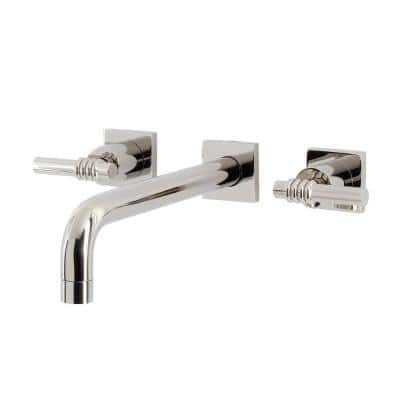Milano 2-Handle Wall Mount Tub Faucet in Polished Nickel (Valve Included)