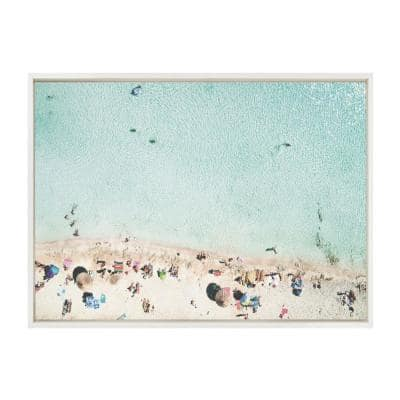"""Sylvie """"Turquoise Beach from Above 2"""" by Amy Peterson Art Studio Framed Canvas Wall Art 23 in. x 33 in."""