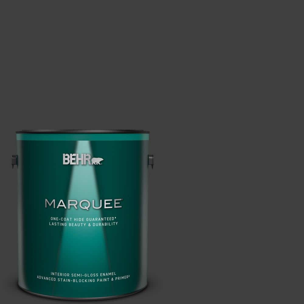Behr Marquee 1 Gal Black One Coat Hide Semi Gloss Enamel Interior Paint Primer 345301 The Home Depot