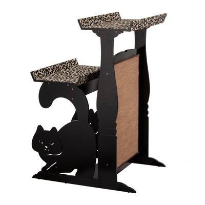 Black 2-Tier Cat Retreat Stand