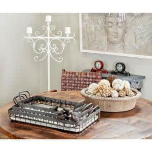 Rectangular Brown Wood and Metal Decorative Trays with Bird Figurines (Set of 3)