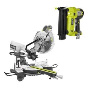15 Amp 10 in. Sliding Compound Miter Saw and 18V Cordless Airstrike ONE+ Brad Nailer