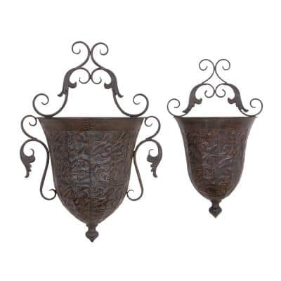 Distressed Brass Iron Inverted Bell-Shaped Sculpted Wall Planters (Set of 2)