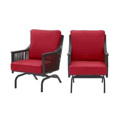 Bayhurst Black Wicker Outdoor Patio Rocking Lounge Chair with CushionGuard Chili Red Cushions (2-Pack)