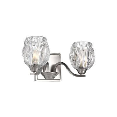 Kalli 2-Light Satin Nickel Bath Light with Crystal Glass Shades
