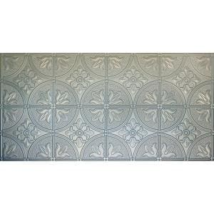 Dimensions 2 ft. x 4 ft. Glue Up Tin Ceiling Tile in Metallic Nickel