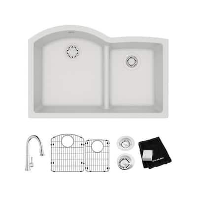 Quartz Classic White Quartz 33 in. 60/40 Double Bowl Undermount Kitchen Sink with Faucet, Bottom Grid and Drain