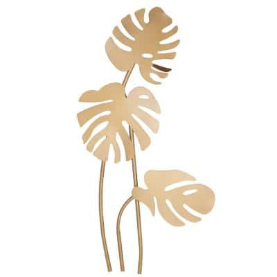 42 in. x 21 in. Gold Metal Glam Floral Wall Decor