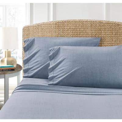 Heather Jersey Blue Solid Standard Pillowcase (Set of 2)