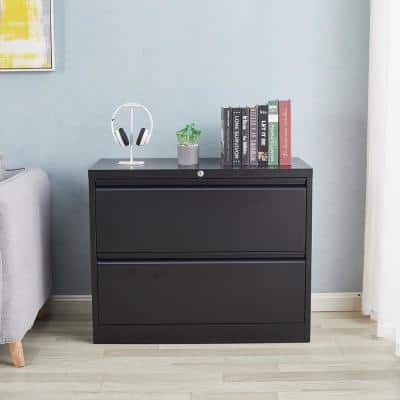 Modern Style Black Lateral Metal Decorative Lateral File Cabinet with 2-Drawers for Home Office