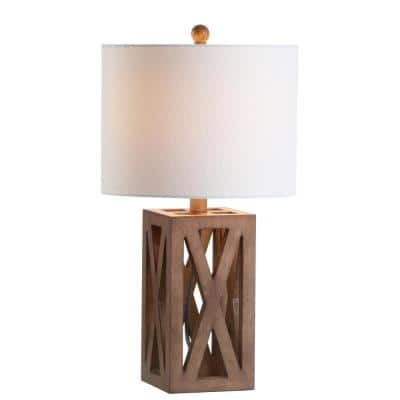 Stewart 21.5 in. Brown Wood LED Table Lamp