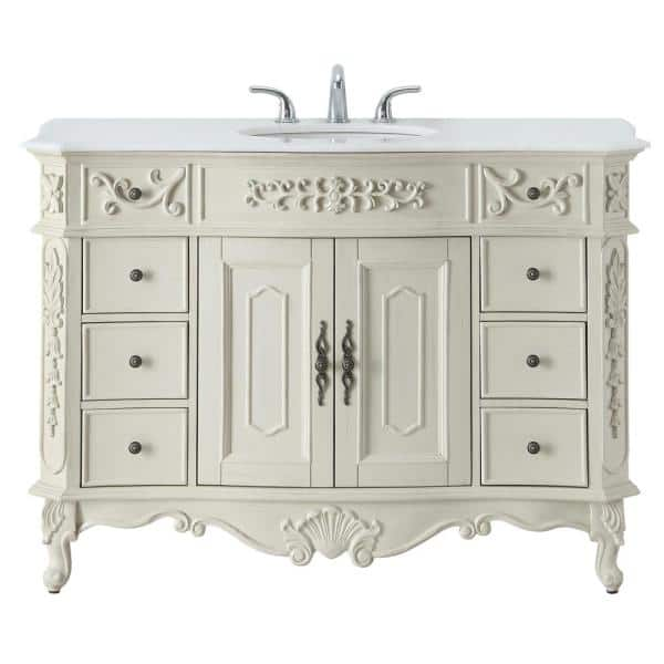 Home Decorators Collection Winslow 48 In W X 22 In D Bath Vanity In Antique White With Vanity Top In White Marble With White Basin Bf 27003 Aw The Home Depot