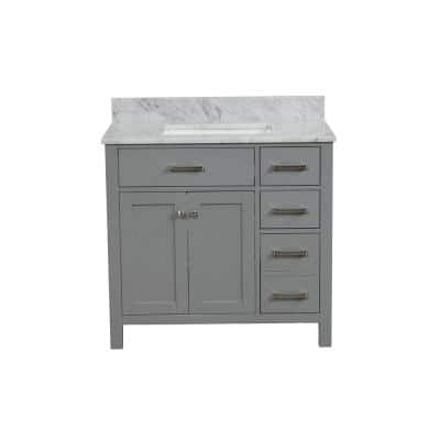 36 in. W x 22. in D. x 37 in. H Solid Wood Side Cabinet Bathroom Vanity in Gray with Carrara Marble Top, 3 Faucet Hole