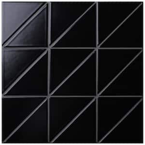 Tre Super Iso Matte Black 10-7/8 in. x 10-7/8 in. x 6 mm Porcelain Mosaic Tile (8.4 sq. ft. / case)