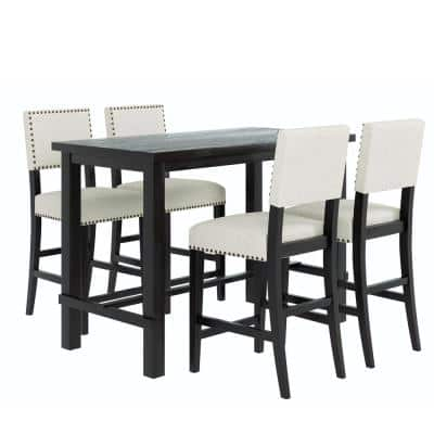 5-piece Rectangle Wooden Top Grey Dining Table Set (Seat 4)