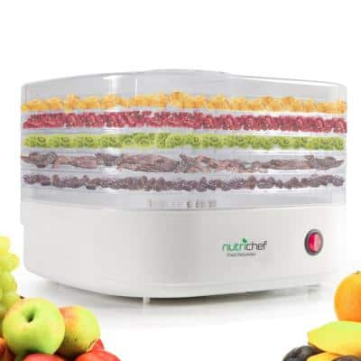 5-Tray White Electric Countertop Food Dehydrator Food Preserver