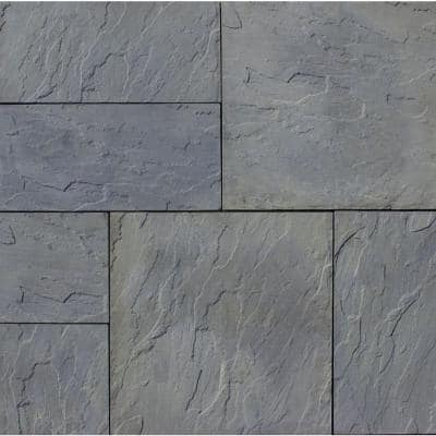 Patio-on-a-Pallet 10 ft. x 10 ft. Concrete Gray Variegated Basket Weave Yorkstone Paver (37 Pieces/100 Sq. Ft.)