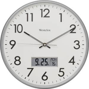 33172- 14'' Silver Wall Clock With Digital Date and Temperature