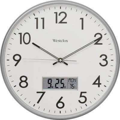 """33172- 14"""" Silver Wall Clock With Digital Date and Temperature"""