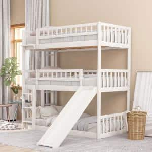 White Twin Triple Bunk Bed with Built-in Ladder and Slide
