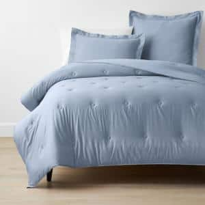 Misty Blue Solid Bamboo Cotton Sateen Tufted Full Comforter