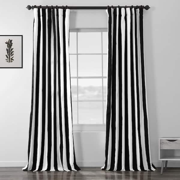 Exclusive Fabrics Furnishings Cabana Black Striped Rod Pocket Room Darkening Curtain 50 In W X 120 In L Prtw D17 120 The Home Depot