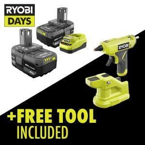 ONE+ 18V Lithium-Ion 4.0 Ah Compact Battery (2-Pack) and Charger Kit with Free Cordless Compact Glue Gun