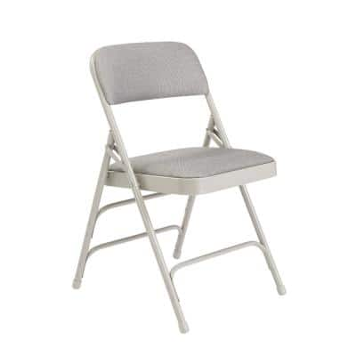Grey Fabric Padded Seat Stackable Folding Chair (Set of 4)