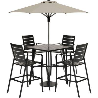 Cortino 5-Piece Aluminum Counter-Height Commercial Grade Outdoor Dining Set with Umbrella
