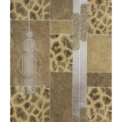 Serengeti Brown Patchwork Brown Wallpaper Sample