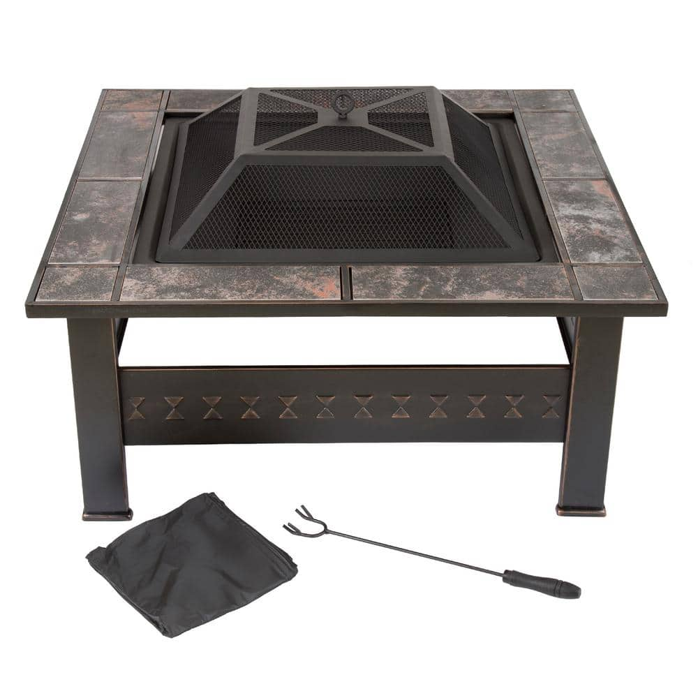 Pure Garden 32 In Steel Square Tile Fire Pit With Cover M150074 The Home Depot