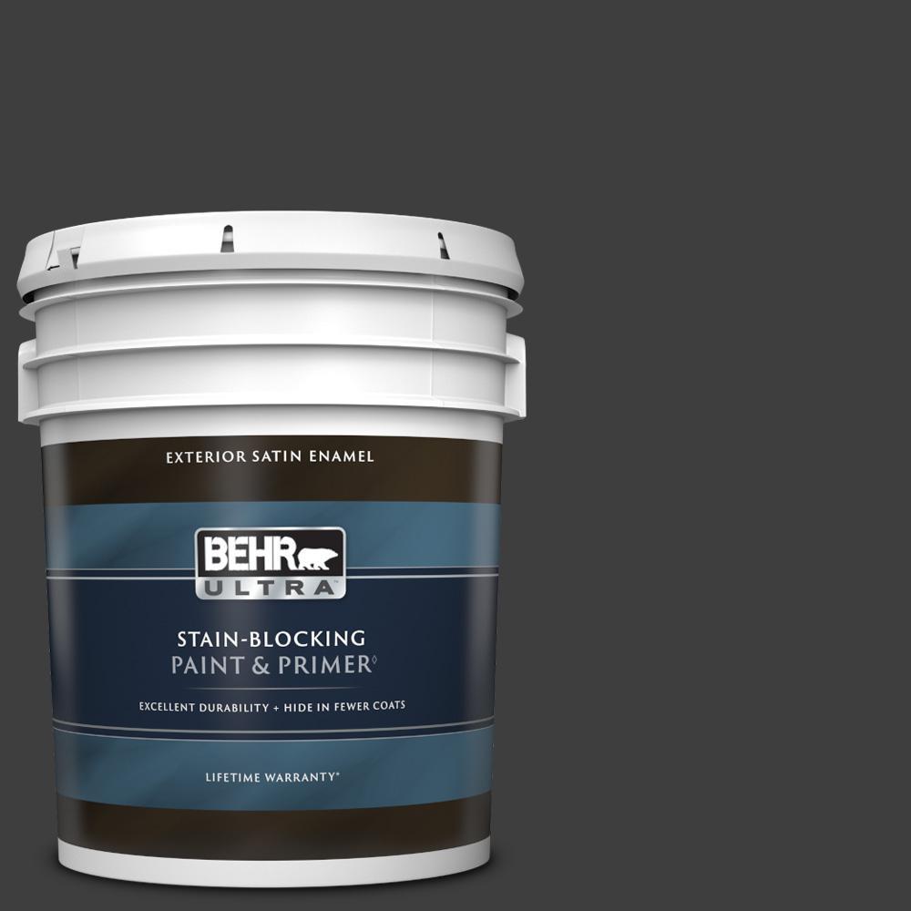 5 gal. #T13-3 Black Lacquer Satin Enamel Exterior Paint & Primer