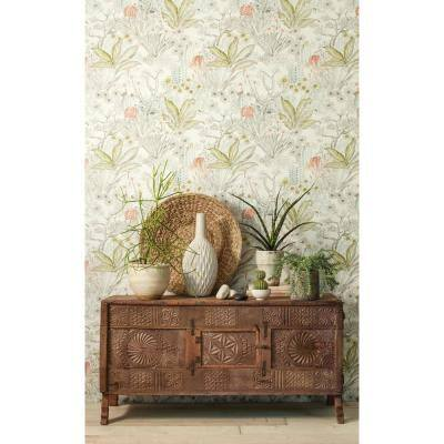 Flowering Desert Grey Floral Paper Pre-Pasted Strippable Wallpaper Roll (Covers 60.75 Sq. Ft.)