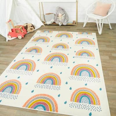 Chasing Rainbows Off-White 5 ft. x 7 ft. Area Rug