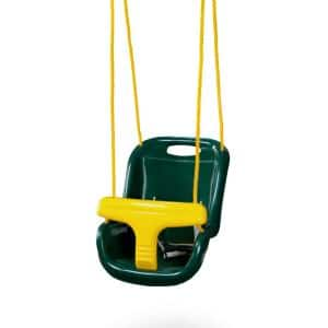Green High Back Infant Swing with Ropes