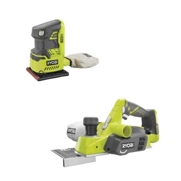RYOBI 18-Volt ONE+ Cordless 3-1/4 in. Planer and 1/4 Sheet Sander with Dust Bag (Tools Only) | The Home Depot